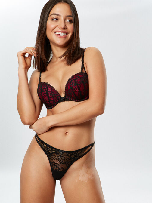 Ann Summers Sexy Lace Push Up Extreme Boost Bra - 32a - black/red - Lingerie for Women