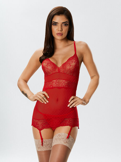 Ann Summers The Scandalous Chemise Crotchless Set - x small - red - Lingerie for Women