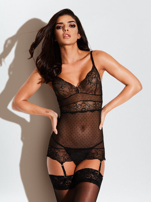 Ann Summers The Scandalous Chemise Crotchless Set - x small - black - Lingerie for Women