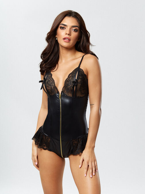 Ann Summers Tasha Crotchless Teddy - small - black - Lingerie for Women