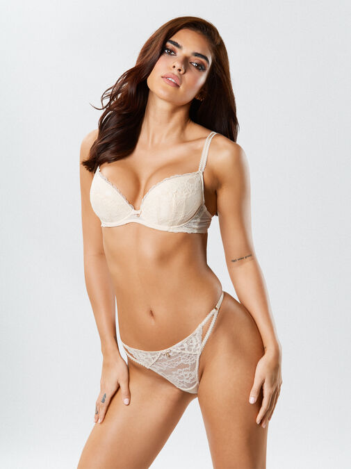 Ann Summers Sexy Lace Push Up Plunge Bra - 32f - nude/blush - Lingerie for Women